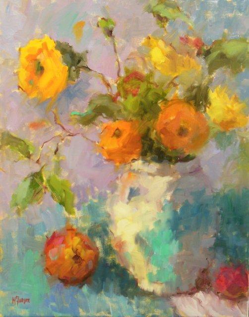 Les Fleurs de Couleur 20x16 Oil on Canvas Helen Farson